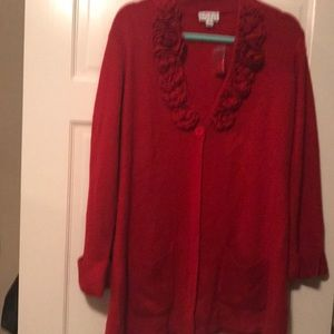 Red embellished with rosette neckline sweater